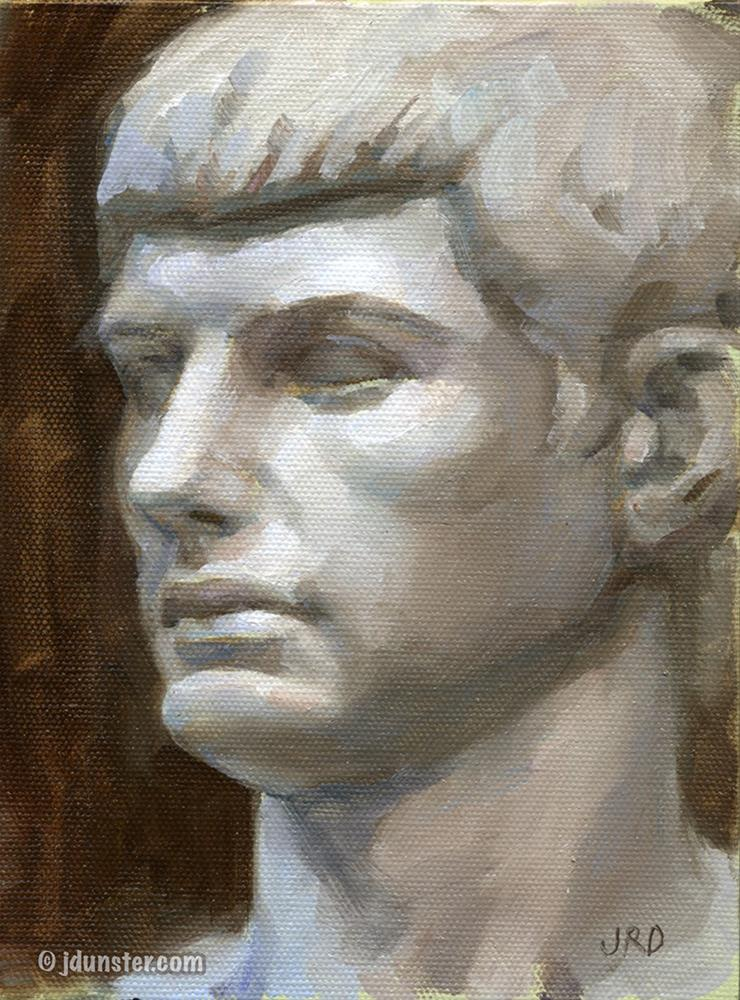 """Roman Youth Plaster Cast Study"" original fine art by J. Dunster"