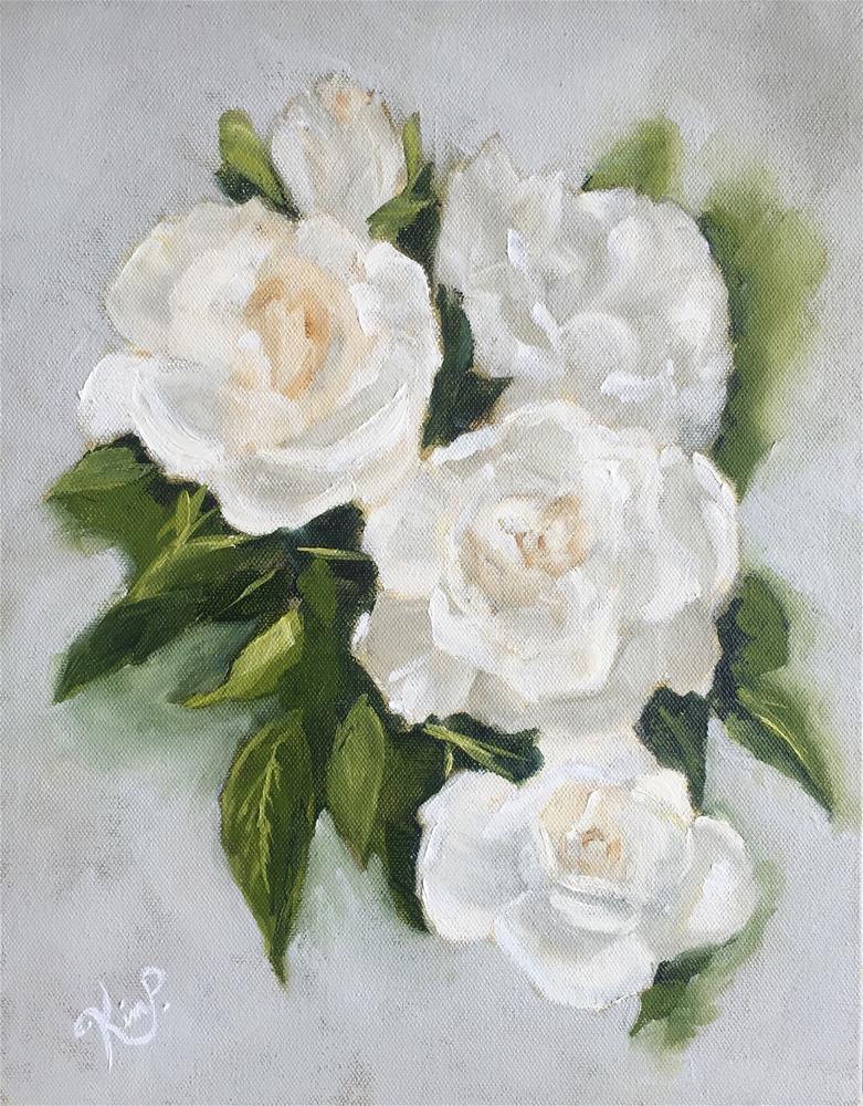 """White Roses with Gray Background II"" original fine art by Kim Peterson"