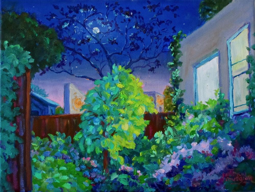 """Backyard Nocturne"" original fine art by Patricia Musgrave"
