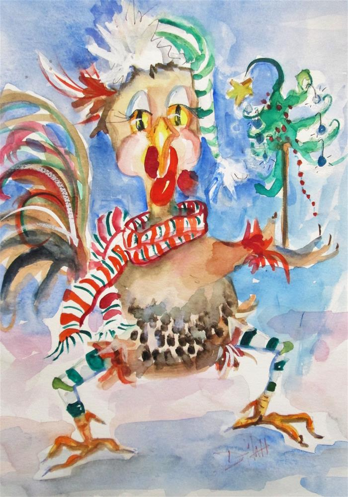 """Christmas Chicken"" original fine art by Delilah Smith"
