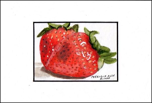 """Two Juicy Strawberries"" original fine art by Patricia Ann Rizzo"