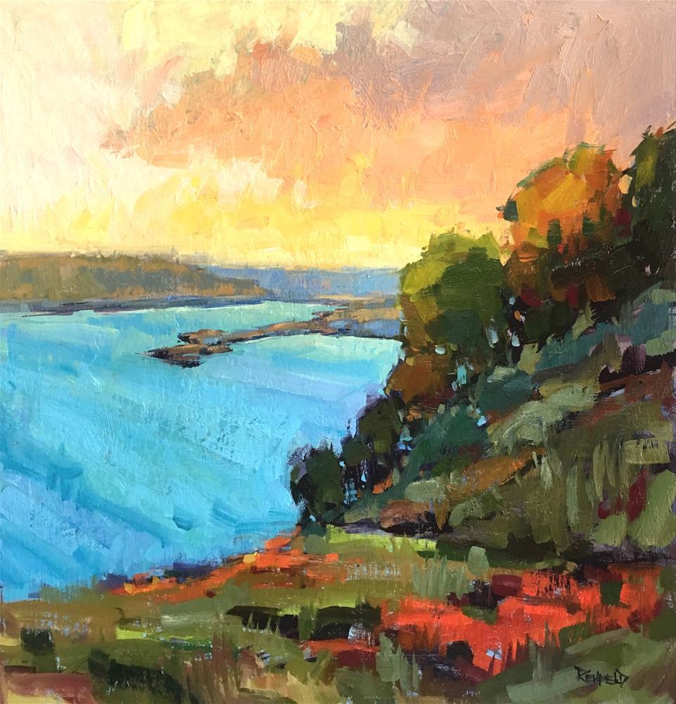 """Sunset on the Columbia River 18x18"" original fine art by Cathleen Rehfeld"