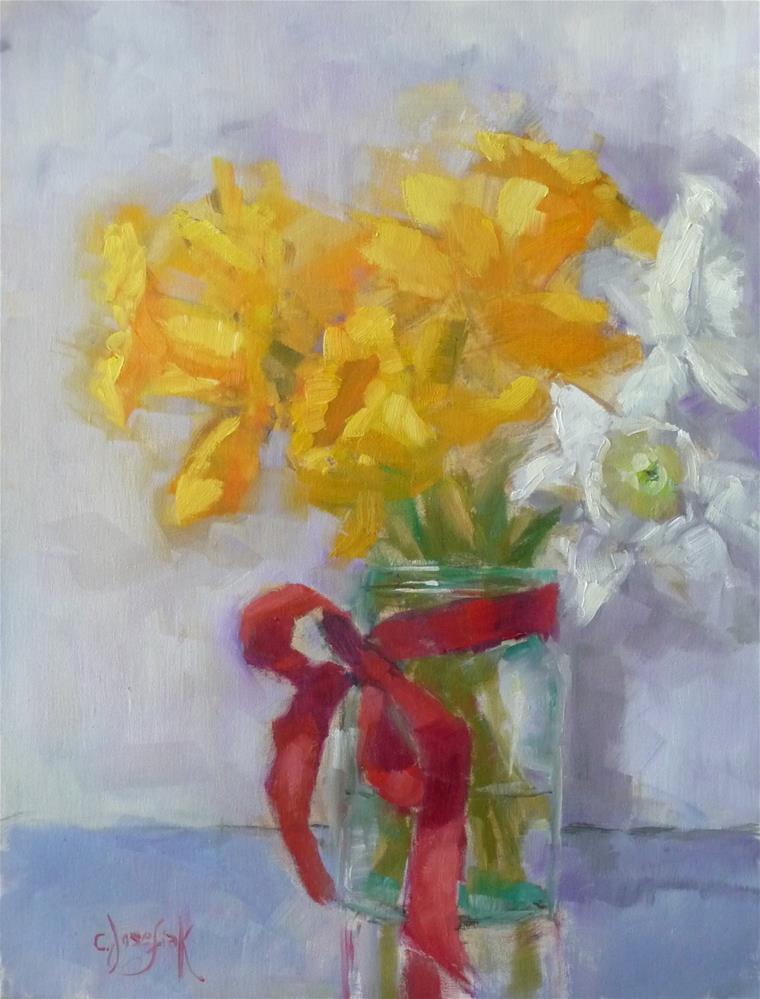 """Garden Week Daffodils"" original fine art by Carol Josefiak"