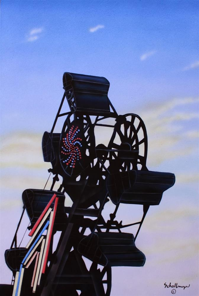 """Carnival Ride (Late Evening)"" original fine art by Fred Schollmeyer"