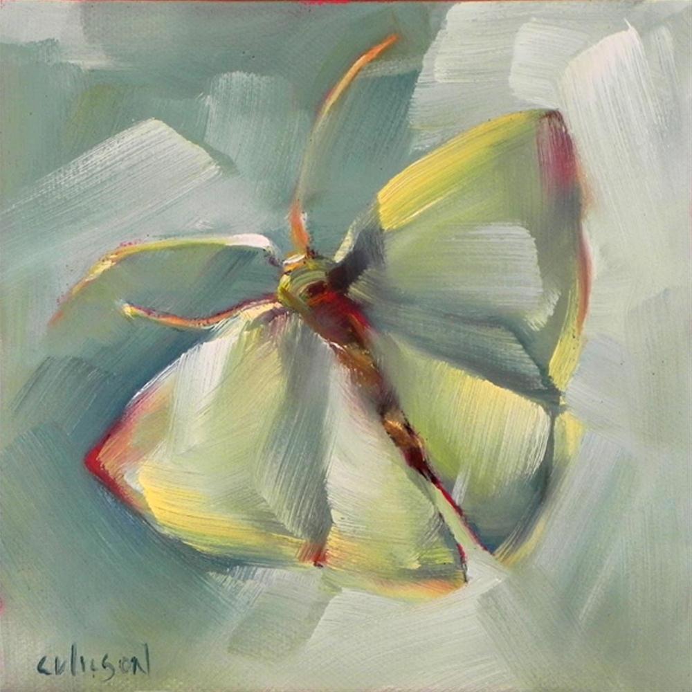 """Green Moth"" original fine art by Cheryl Wilson"