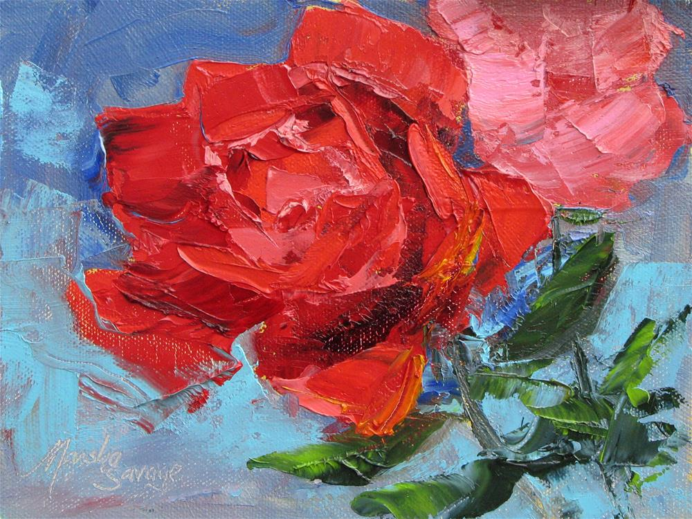 """Roses & Blue"" original fine art by Marsha Savage"