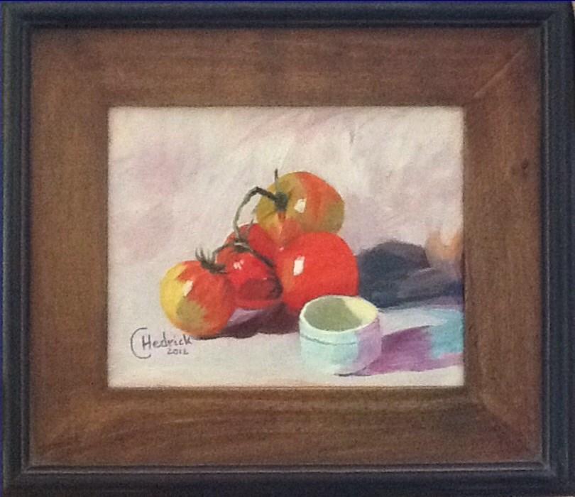 """GOOD OLE SUMMER TOMATOES"" original fine art by Charlotte Bankhead Hedrick"