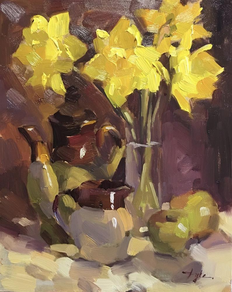"""Daffodils and Apples"" original fine art by Katia Kyte"
