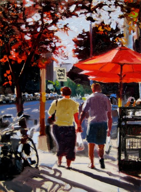 """""""Bell Town 2  Seattle city scenes oil painting"""" original fine art by Robin Weiss"""