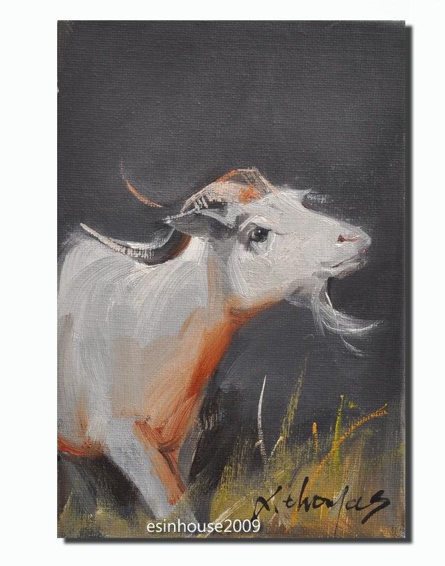 """12x18cm Animals Original oil Painting Sheep Art goat impressionism Artwork"" original fine art by Thomas Xie"