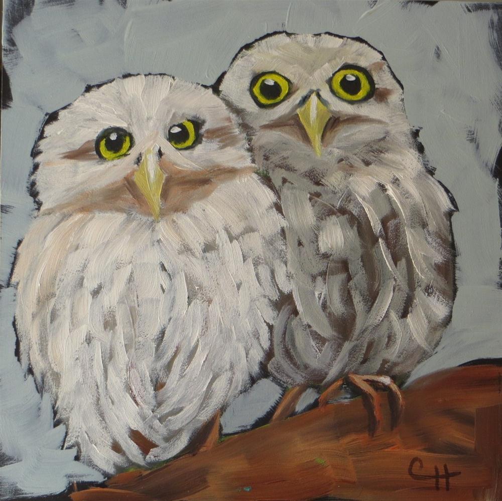 """Baby Owls no. 2"" original fine art by Claire Henning"
