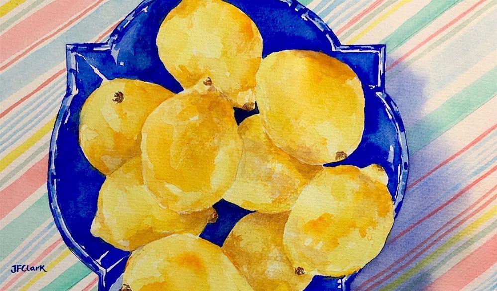 """Lemons in a Blue Dish"" original fine art by Judith Freeman Clark"