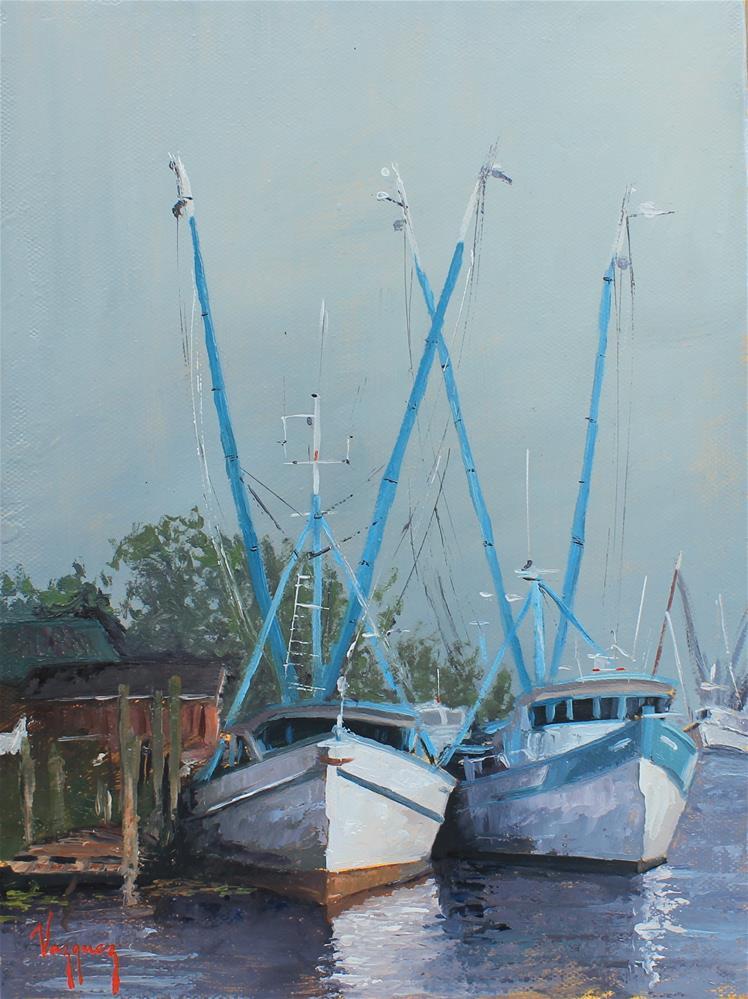 """Fishing boats in gray"" original fine art by Marco Vazquez"