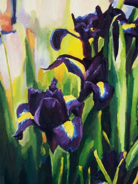 """Irises in Bloom"" original fine art by Nava Judith"