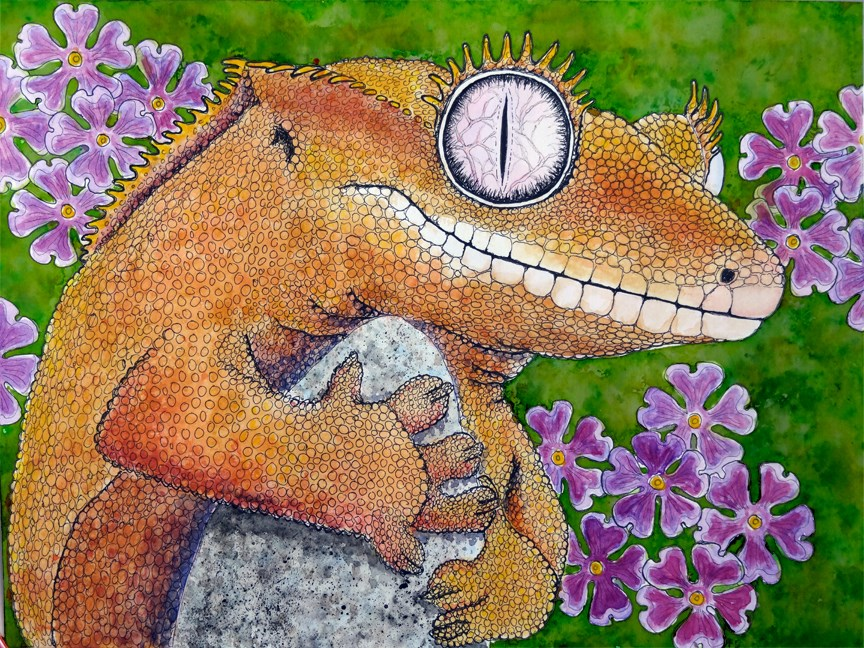 """Crested Gecko Portrait"" original fine art by Ande Hall"