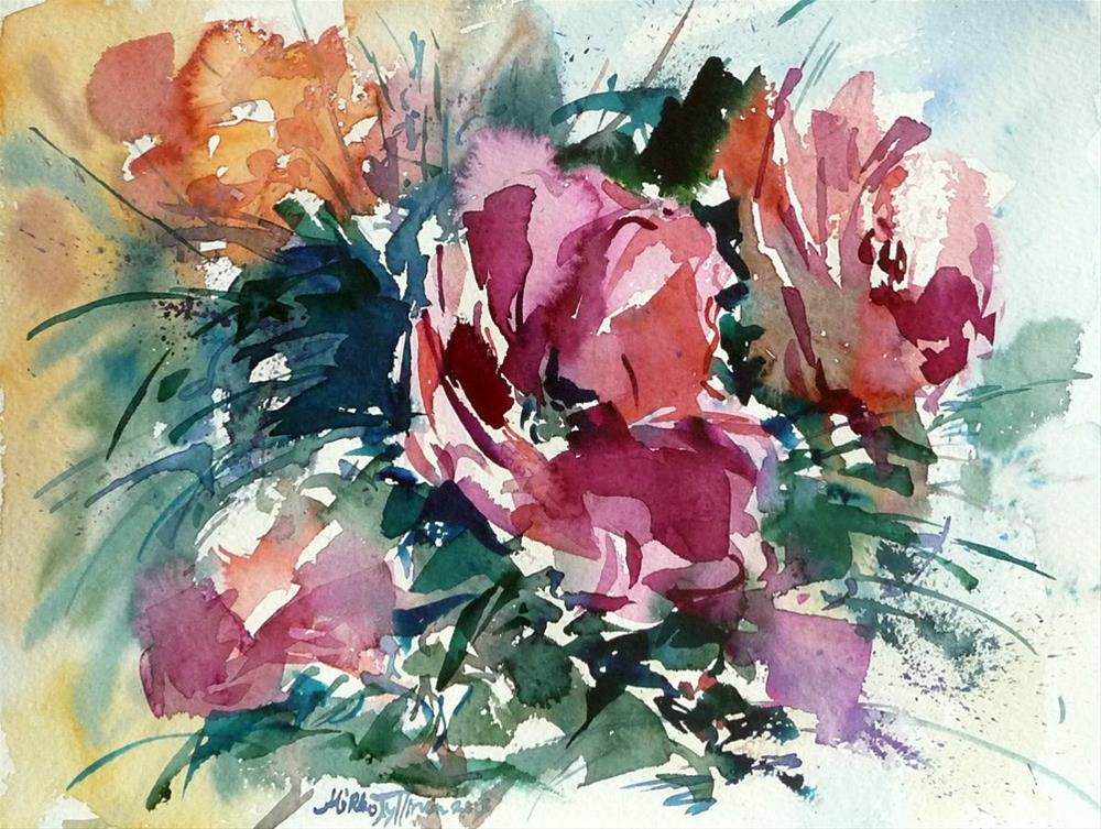 """""""Spring red flowers"""" original fine art by Mikko Tyllinen"""