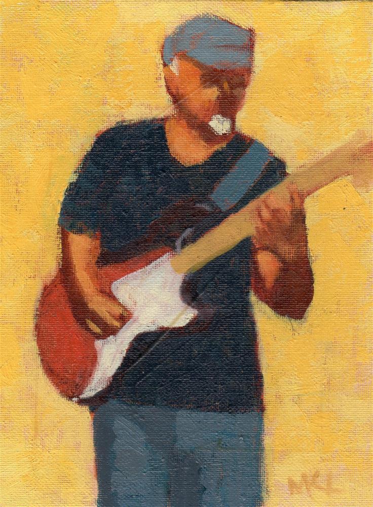 """Soul Patch Guitarist"" original fine art by Marlene Lee"