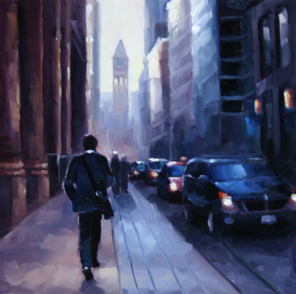 """""""Heading back to work, Bay Street"""" original fine art by Catherine Jeffrey"""
