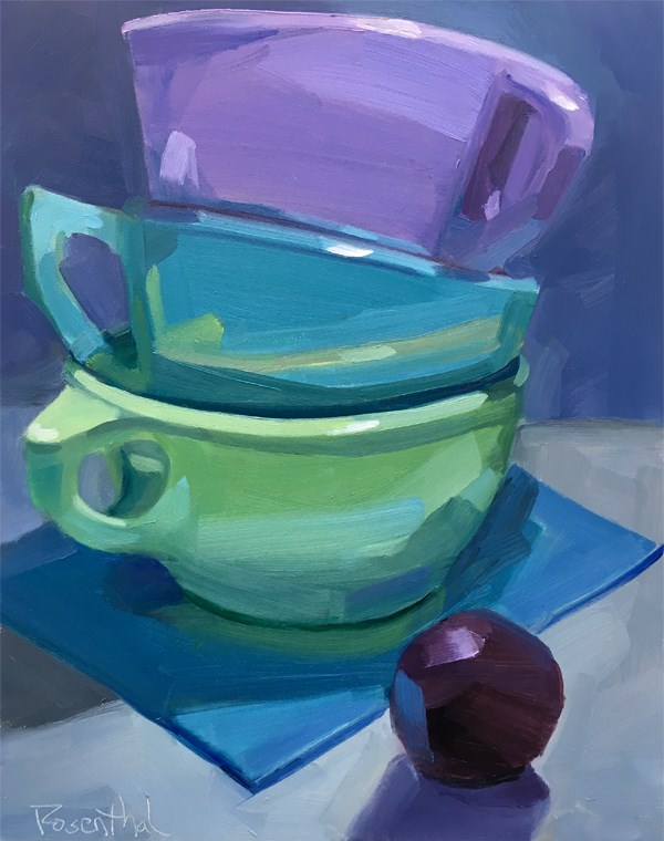 """Stacked and Plum"" original fine art by Robin Rosenthal"