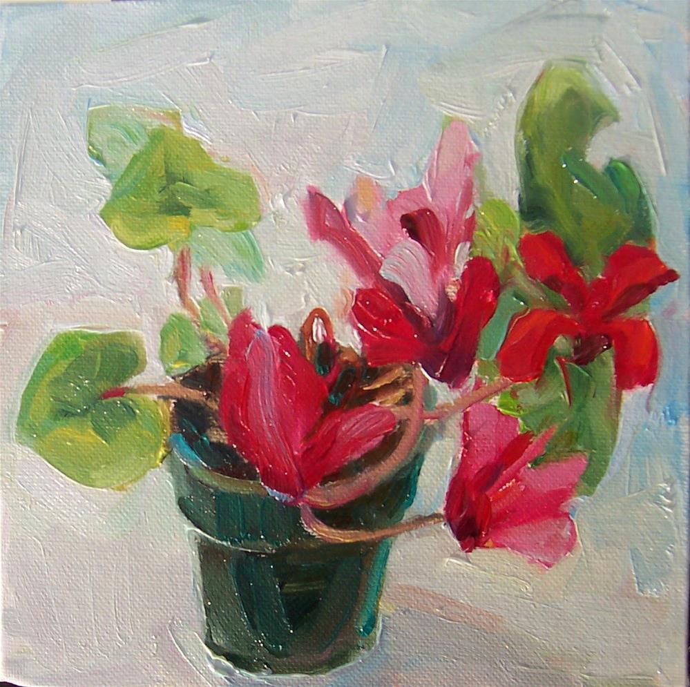 """Cyclamen,still life,oil on canvas,8x8,priceNFS"" original fine art by Joy Olney"
