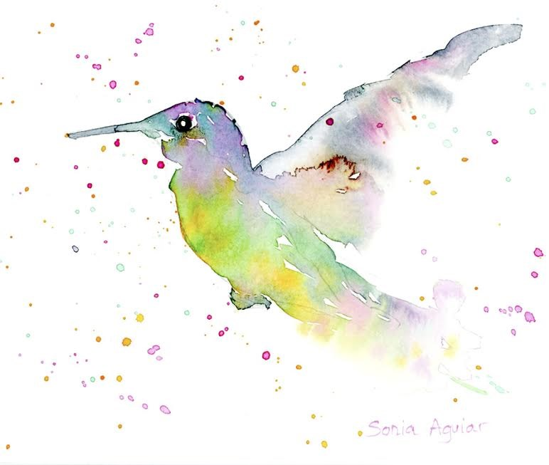 """Loose Hummingbird"" original fine art by Sonia Aguiar"