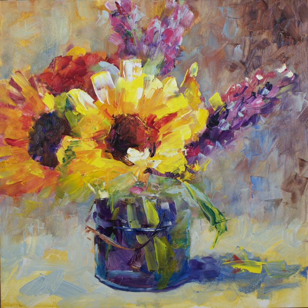 """Sunflower Study #2"" original fine art by Sue Churchgrant"