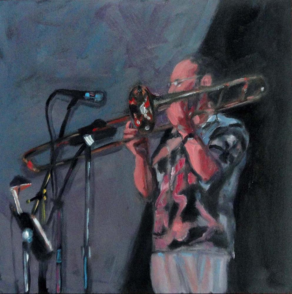 """Humboldt Time (The Trombone Player)"" original fine art by Cietha Wilson"