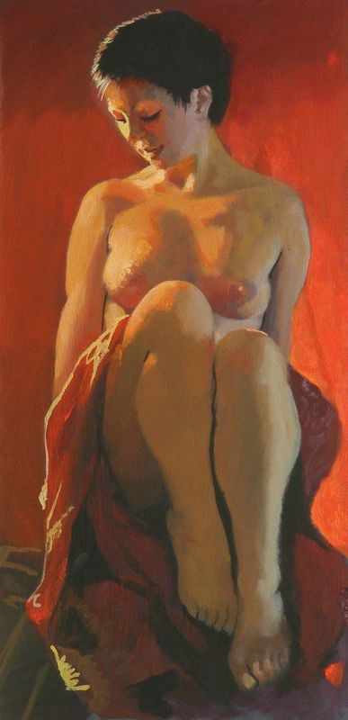 """""""Nude with cloth"""" original fine art by Peter Orrock"""