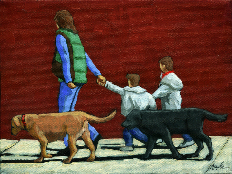 """""""Family Outing - figurative oil painting"""" original fine art by Linda Apple"""