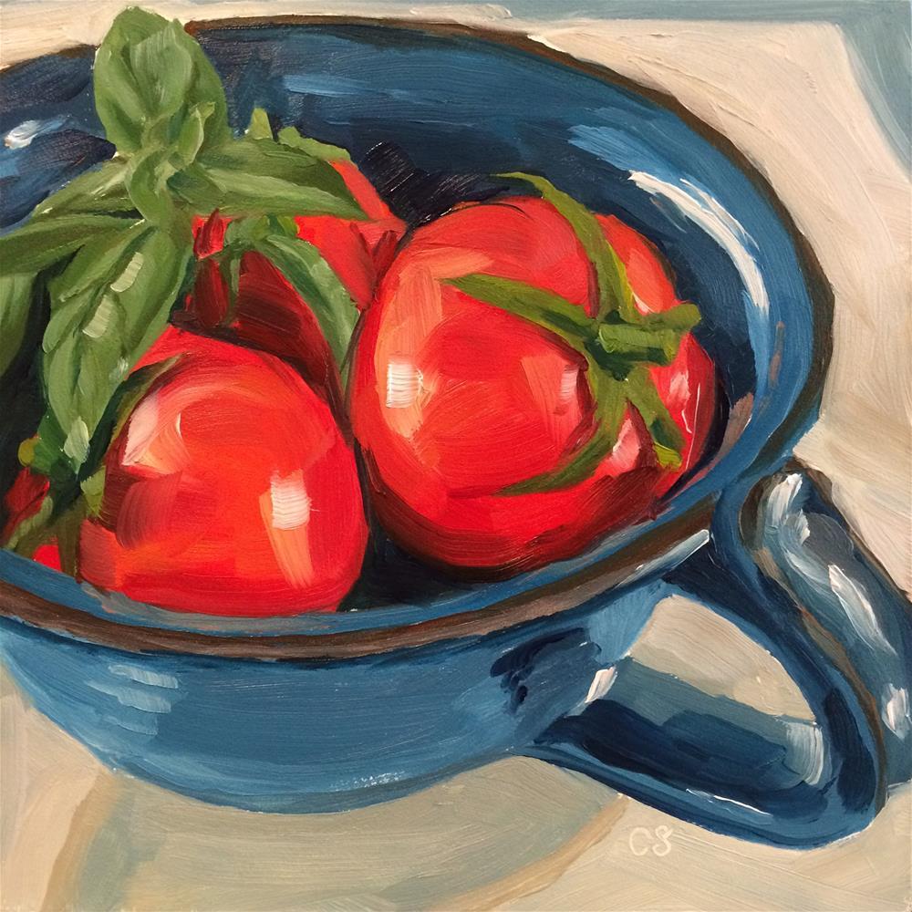 """Tomato and Basil"" original fine art by Carol Stickley"