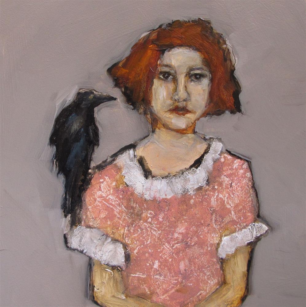 """BIRD - WATCHING Original ABSTRACT FIGURE PORTAIT CROW 6x6 Art Painting OIL"" original fine art by Colette Davis"