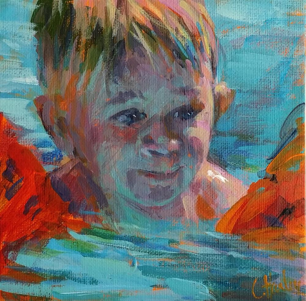 """""""First time swimming"""" original fine art by Catherine Harley"""