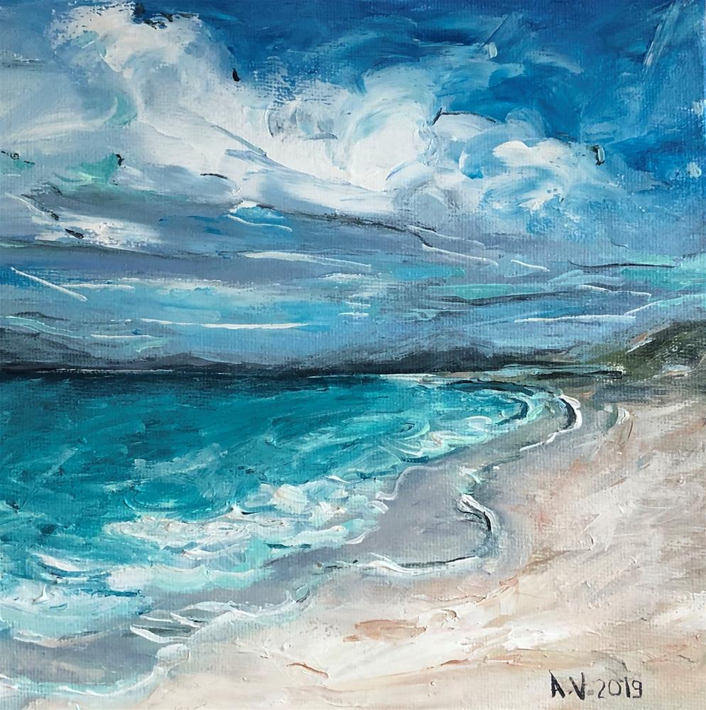 """Scottish Beach"" original fine art by Alina Vidulescu"