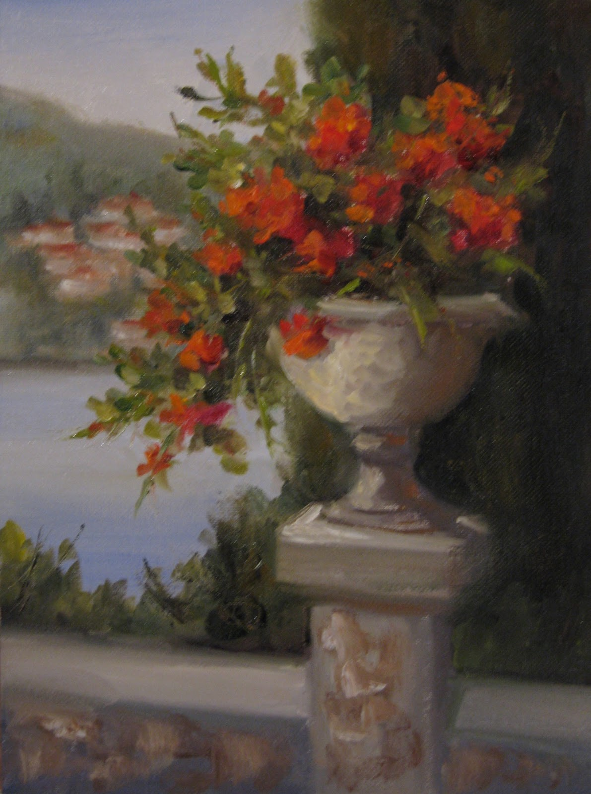 """Flower Study #45 Geraniums in Italy"" original fine art by Pat Fiorello"
