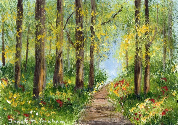 """""""Spring Pathway ACEO"""" original fine art by Janet Graham"""
