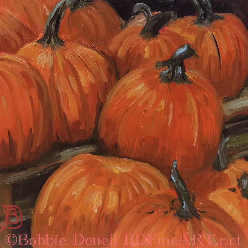 """""""#42 Pumpkins at Tractor Supply"""" original fine art by Bobbie Deuell"""
