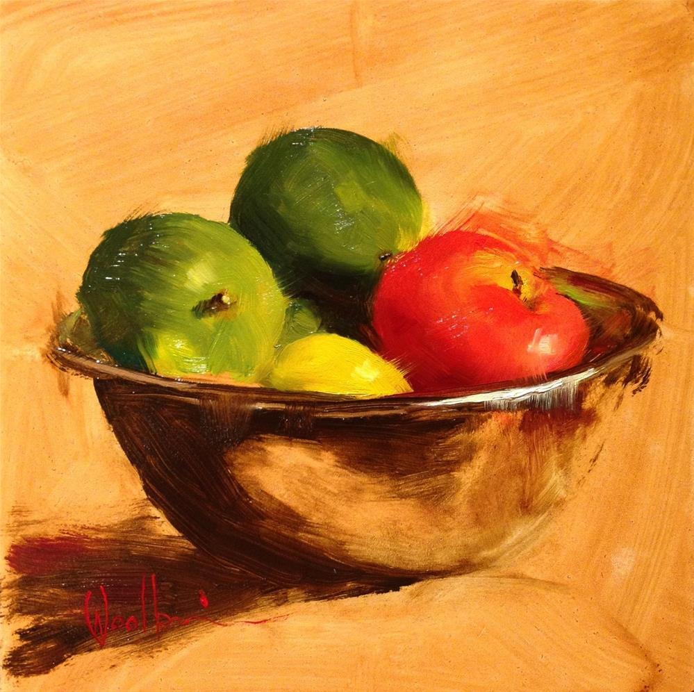 """Fruit in Stainless Bowl"" original fine art by Dorothy Woolbright"
