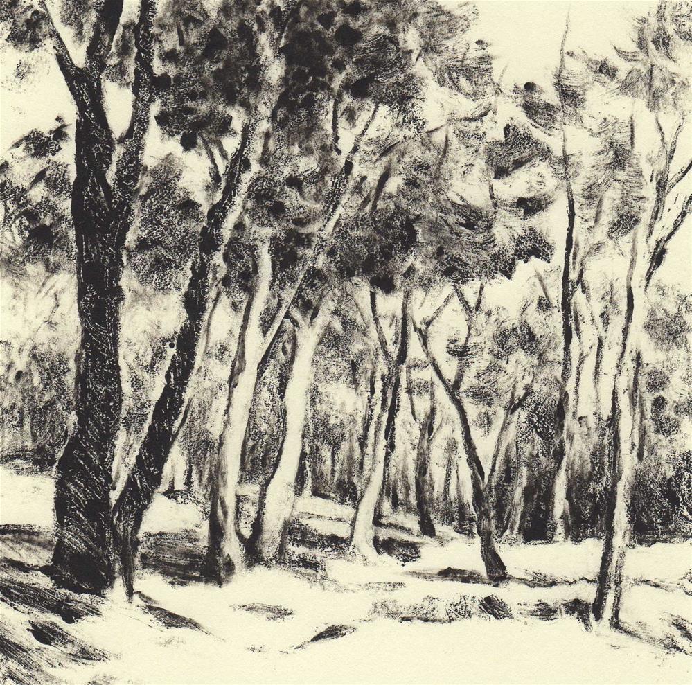 """""""In the woods #4 - Wood lights"""" original fine art by Olga Touboltseva-Lefort"""