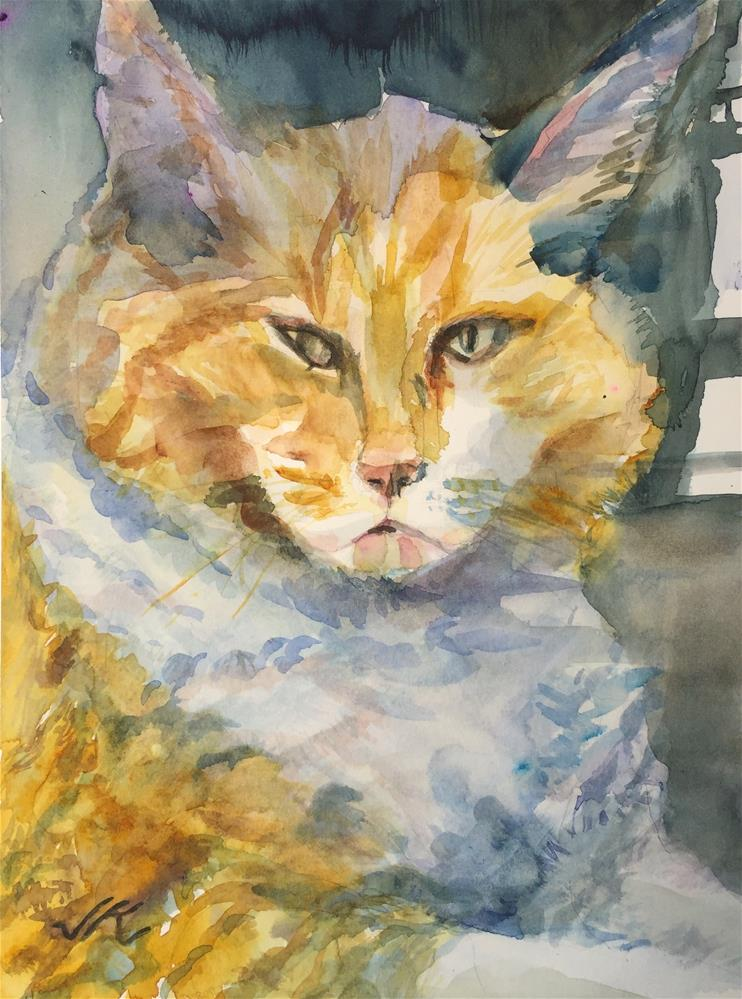 """Cat Behind Glass"" original fine art by Jean Krueger"