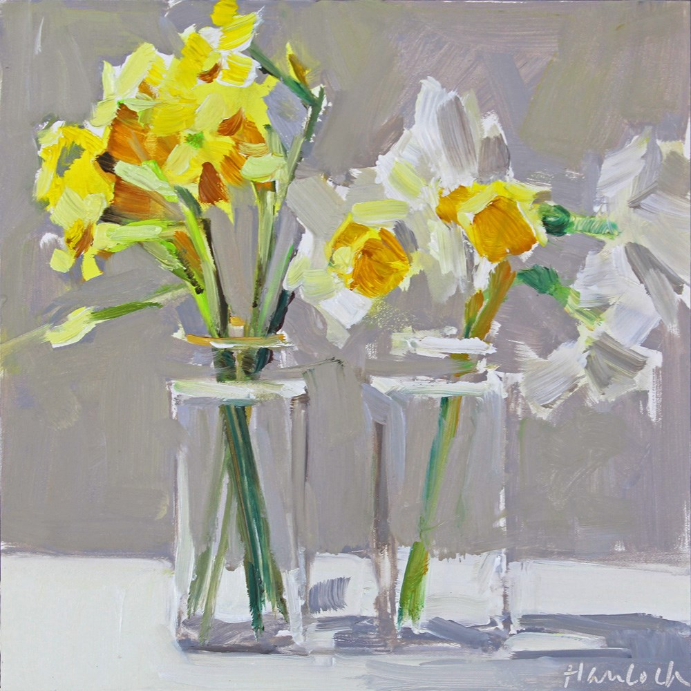 """Mini Daffodils Two Vases"" original fine art by Gretchen Hancock"