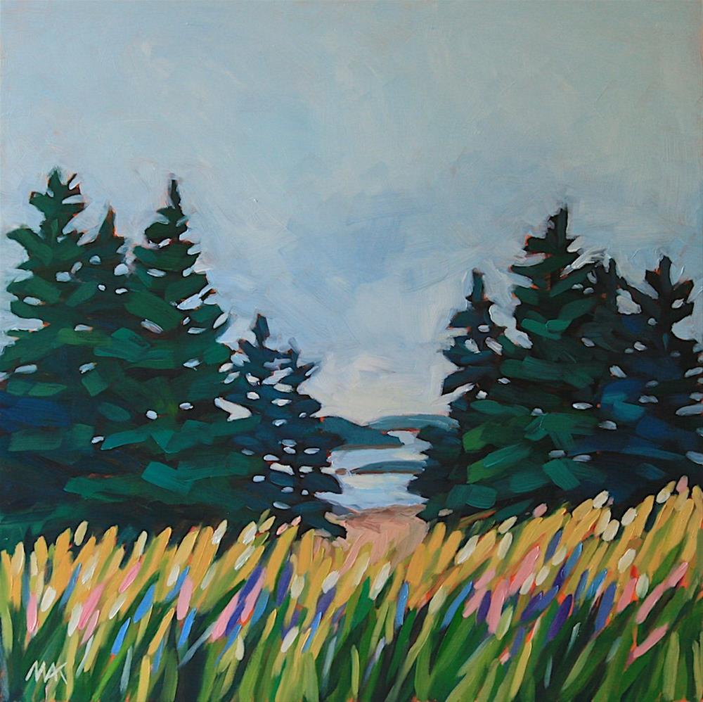 """""""Lupines, Pines and Ocean"""" original fine art by Mary Anne Cary"""