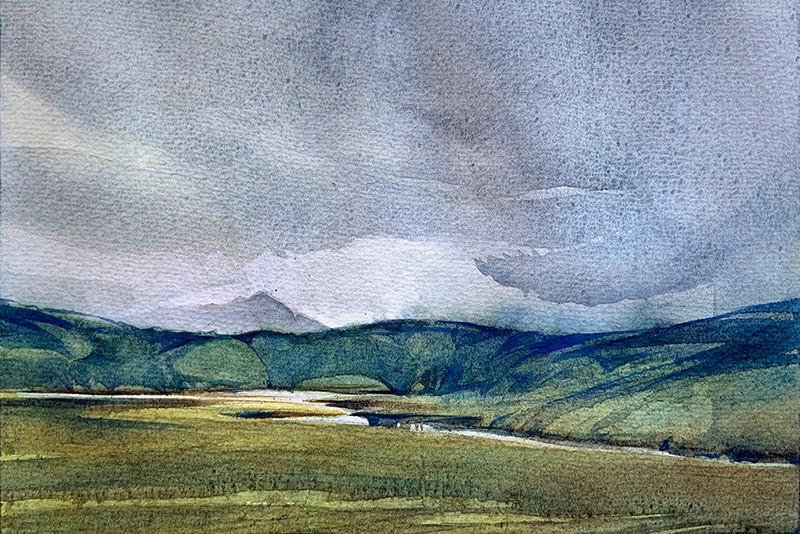 """""""Overcast Meadow:  6x9  watercolour on paper"""" original fine art by Ken Faulks"""