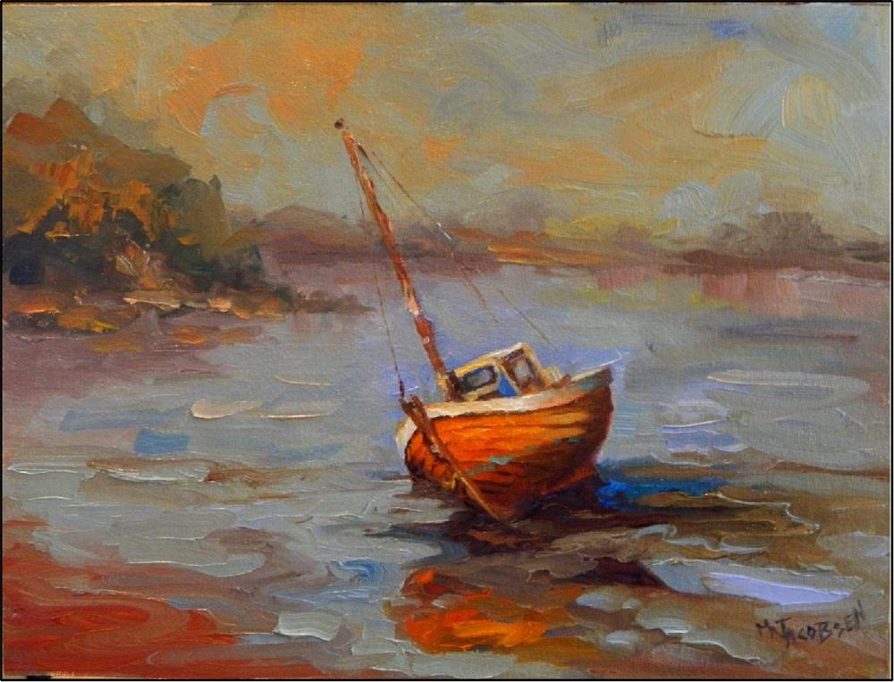 """Low Tide, 9x12, oil on canvas, paintings of boats, low tide,  Bay of Fundy, old wooden boats, Main"" original fine art by Maryanne Jacobsen"