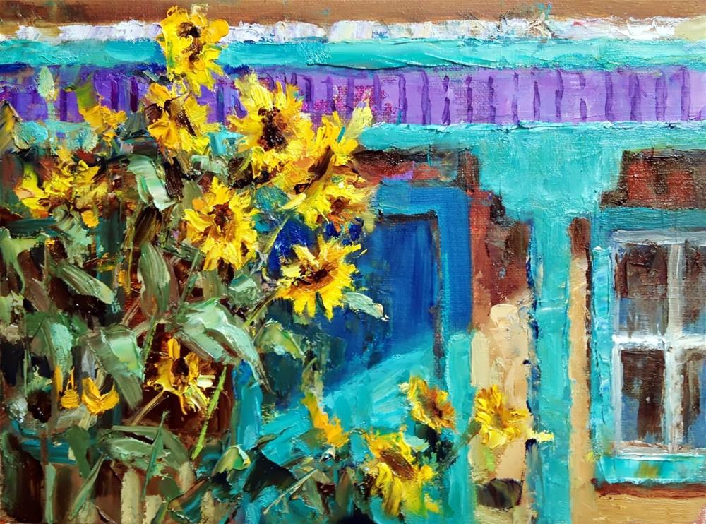 """""""New Mexico Sunflowers"""" original fine art by Julie Ford Oliver"""