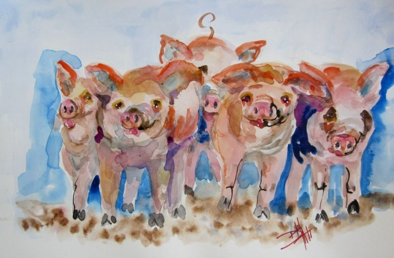"""Piggies"" original fine art by Delilah Smith"