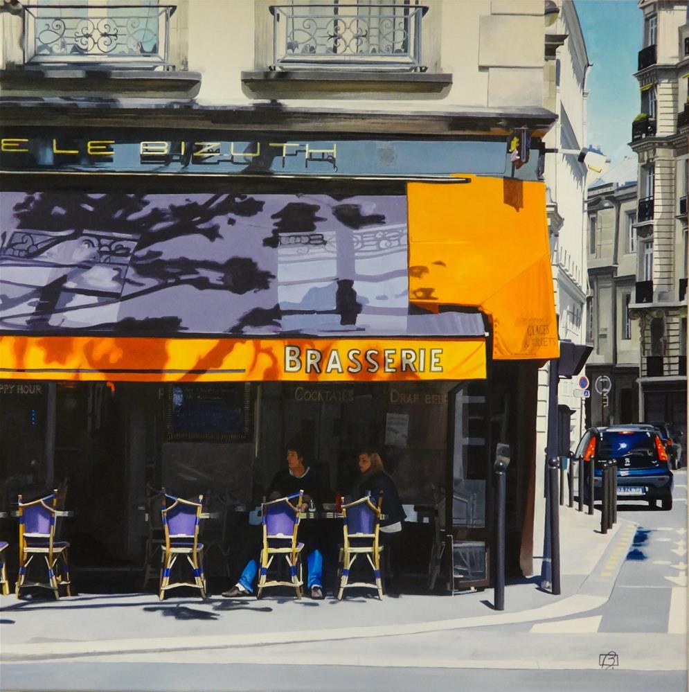 """Cafe le Bizuth"" original fine art by Andre Beaulieu"