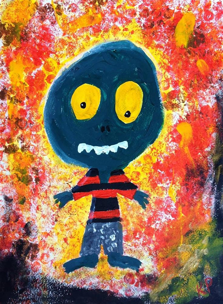 """Scaryish Monster"" original fine art by Kali Parsons"