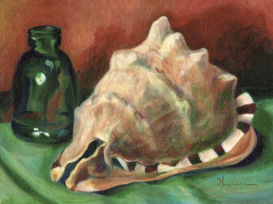 """""""Helmet Shell with Bottle"""" original fine art by Theresa Taylor Bayer"""