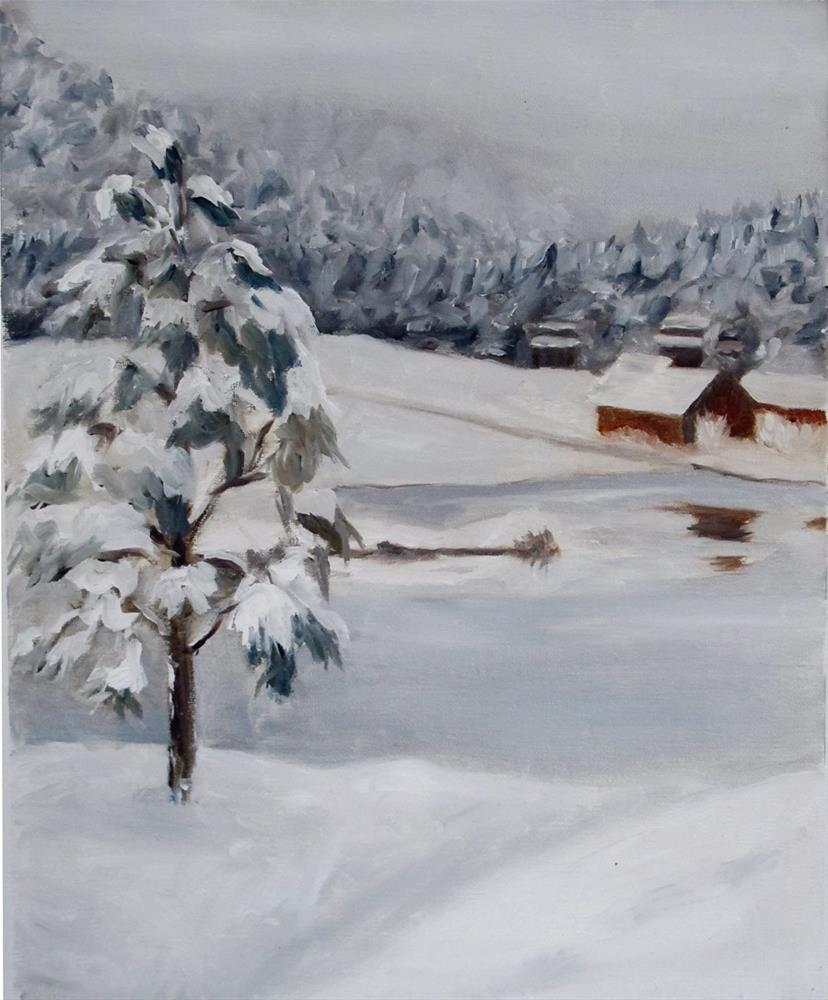 """Frozen Pond"" original fine art by Rachel Steely"