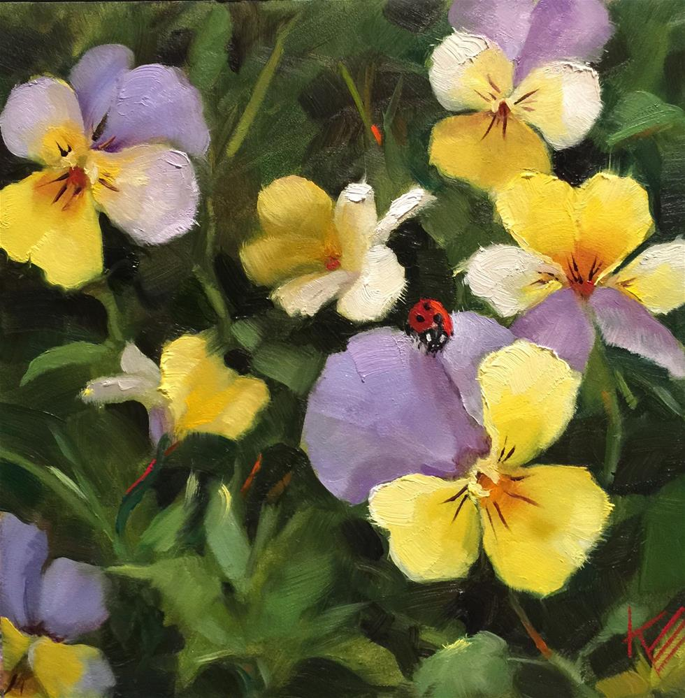 """Lady Bug & Pansies"" original fine art by Krista Eaton"
